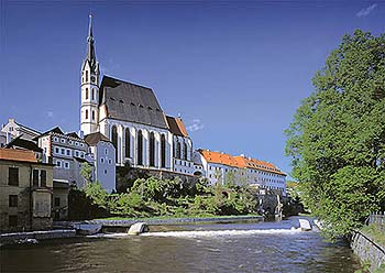 Church of St. Vitus in Český Krumlov, view from the Vltava River, foto: Libor Sváček