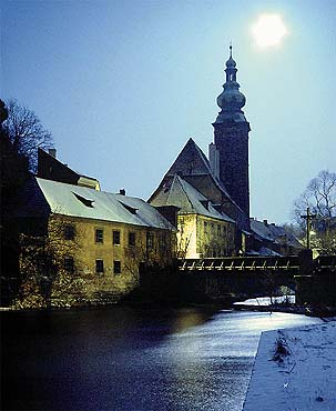 Český Krumlov, Church of St. Jošt on a full moon, foto: Libor Sváček