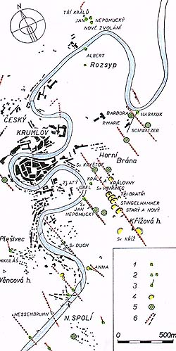 Český Krumlov and surroundings, map of old mines where silver and gold were mined