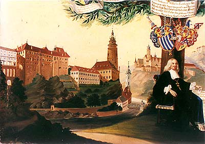 Schwarzenberg family tree, detail with view of Castle Český Krumlov