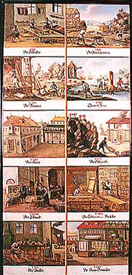 Zlatá Koruna school, classroom aid from 18th century, picture of various human activities