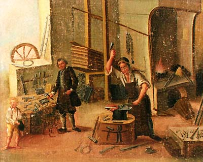 Zlatá Koruna school, classroom aid from 18th century, picture of blacksmith craft