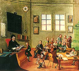 Zlatá Koruna school, classroom aid from 18th century, picture of school