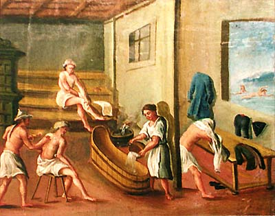 Zlatá Koruna school, classroom aid from 18th century, picture of spa scenes