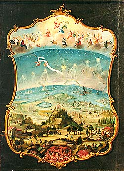 Zlatá Koruna school, classroom aid from 18th century, picture of heaven, earth, and hell