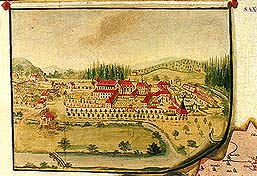 Zlatá Koruna school, classroom aid from 18th century, picture of previous appearance of the Zlatá Koruna Monastery