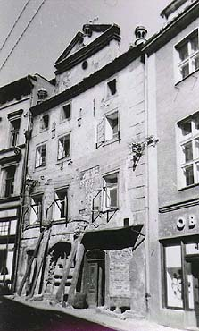 View onto middle part of Latrán Street in Český Krumlov, historical photo