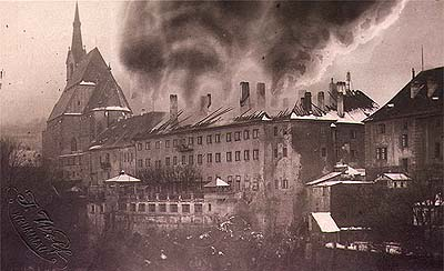 Horní no.  154, fire in Hotel Růže, historical photo, foto: F.Wolf