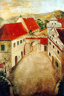 Český Krumlov - bridgehead at Upper Gate, oil painting from early 19th century, collection of Regional Museum of National History in Český Krumlov