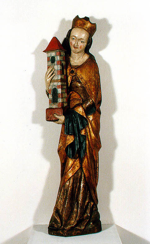 St. Barbara, St. Thomas near Frymburk, about 1380, wooden poly-chromic sculpture, state after restoration, complex restoration by done Stojan Genčev, Company Kotangens s.r.o., Prague, 1997-1998