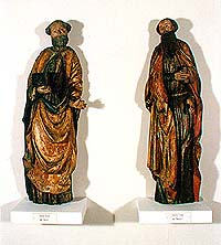 St. Peter (left) and St. Paul (right) from church in Svéráz, 15th century, collection of Regional Museum of National History in Český Krumlov
