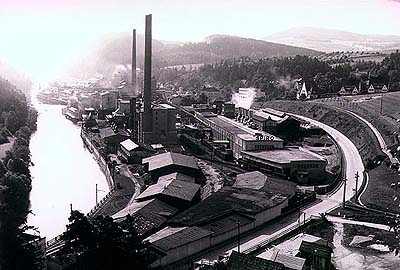 Papermill Větřní, historical photo of factory
