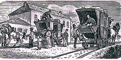 Horse-drawn railway, period illustration from 19th century