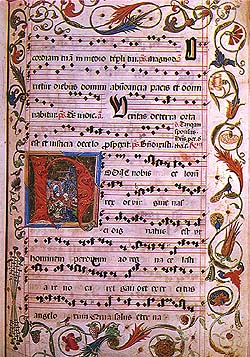 Antiphone from the end of the 15th century, music of latin song