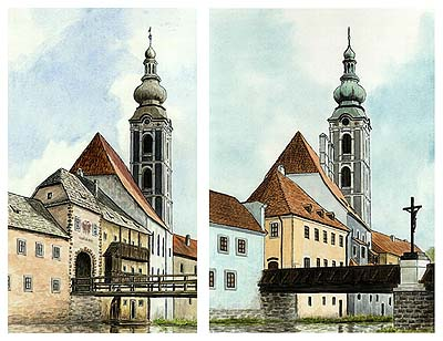The inner Latrán Gate and St. Jost church in the seventies of the 18. century  compared with apearance in 1998. Autor: V. Codl