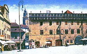 Český Krumlov town square with town-hall, hist. photo, collection of Regional Museum of National History in Český Krumlov, foto: J. Seidel, 1915