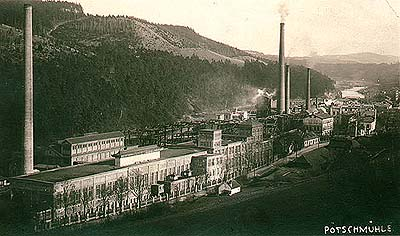 Větřní, papermill, historical photo, foto: Wolf
