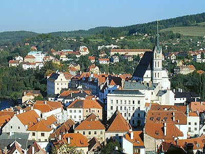 Český Krumlov, view onto the historic center with the dominating church of St. Vitus, foto: Lubor Mrázek