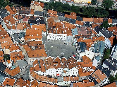 Český Krumlov, areal photo of the square and historic center, foto: Lubor Mrázek