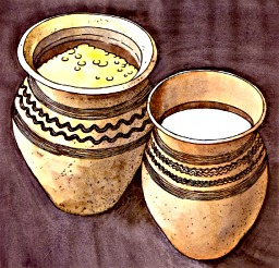 The pottery vessels belonged to the Český Krumlov Slavs, drawing: Michal Ernée