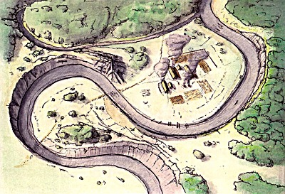 The first farmer settlement in the town of Český Krumlov - the 5th millennium BC, drawing: Michal Ernée.