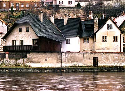 View from the Vltava River onto Rybářská Street no's. 2, 3 and 4
